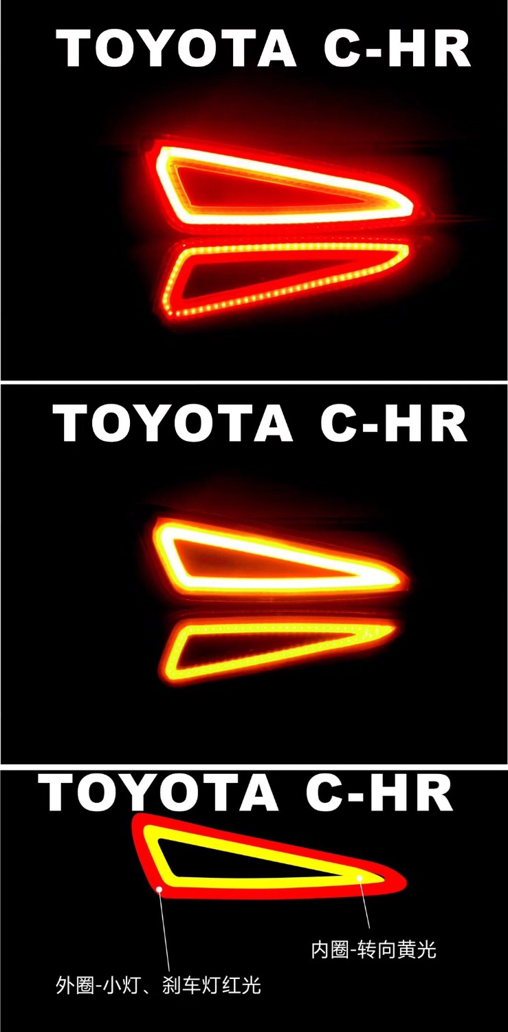 eOsuns LED tailwarning light + brake light + turn signal rear bumper light driving reflector for Toyota chr C-HR eosuns led side turn signal reflector