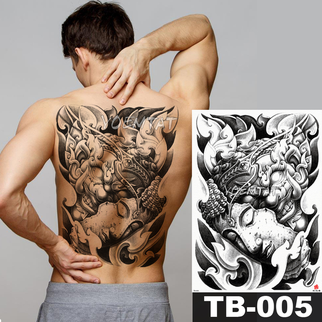 18a4184f4 48*35 cm Angel and Devil large tattoo stickers waterproof temporary flash  tattoos full back Ink Buddha painting body art for men. 2 orders