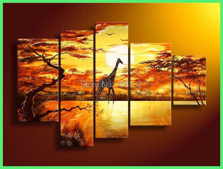 Framed 5 Panel Large African Art Sunset Oil Painting on Canvas South ...