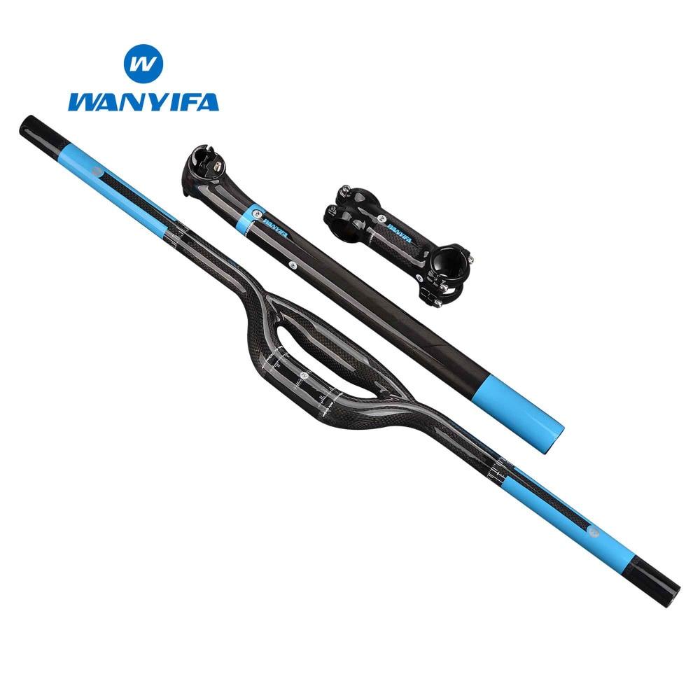 Wanyifa 3 K fibre de carbone bleu fibre de carbone VTT guidon en carbone ensemble = tige tige de selle guidon siège peut mat