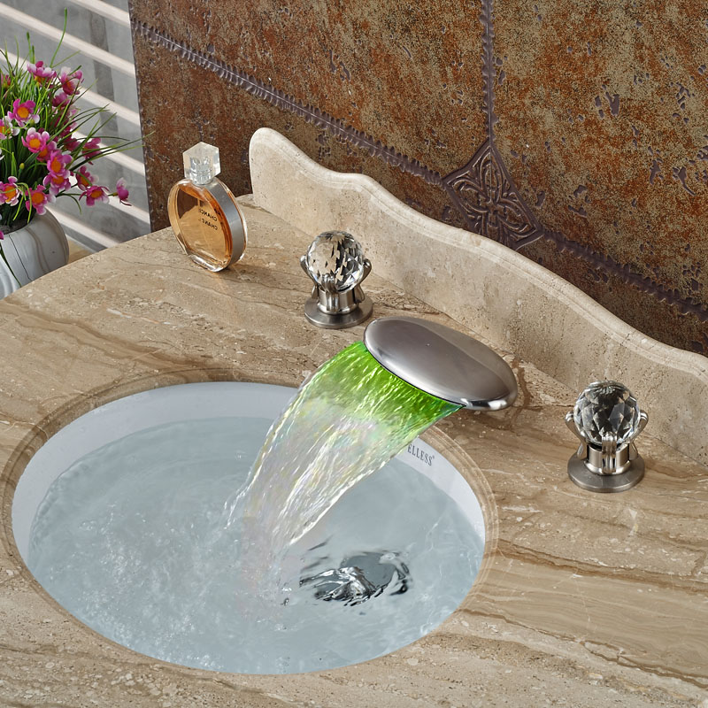 цена на LED 3 Colors Wwaterfall Basin Faucet Deck Mount 3 Hole Hot Cold Mixer Taps Brushed Nickel Dual Handle