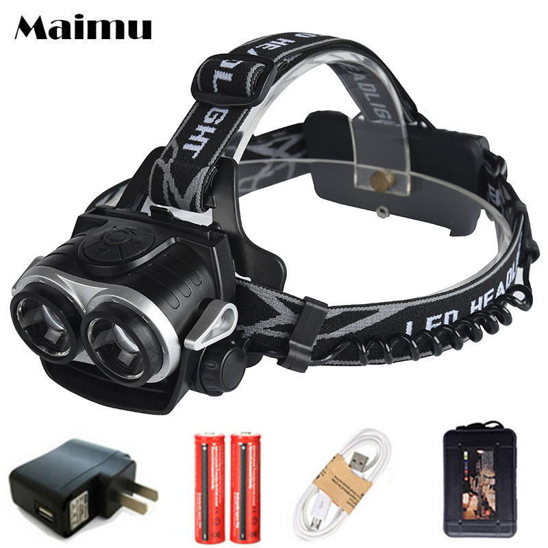 Maimu 8000LM USB Power LED Headlamp CREE XML T6 3 Modes Rechargeable Headlight Head Lamp torch For Hunting 18650 head light D14 8000lm usb rechargeable head lamp torch xml t6 cob led white red light headlamp frontal led running headlight usb cable by 18650