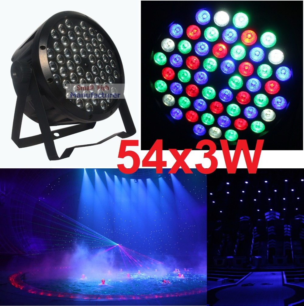 Free Shipping Flat LED Par Light 54x3W RGBW Hiqh Quality Par Can DMX512 Disco DJ Home Party KTV 120W Led Stage Effect Projector led stage light effect 12x3w flat par rgbw dmx512 dj disco lamp ktv bar party backlight laser beam projector dmx spotlight