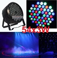 Free Shipping Flat LED Par Light 54x3W RGBW Hiqh Quality Par Can DMX512 Disco DJ Home Party KTV 120W Led Stage Effect Projector