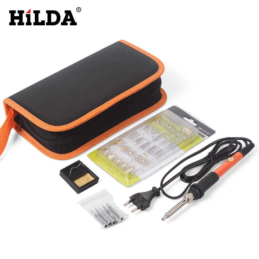 HILDA Electric Soldering Iron Adjustable Temperature Solder Station Stand Solder Wire Tool Kit With 32pcs Iron Tip and Tweezer