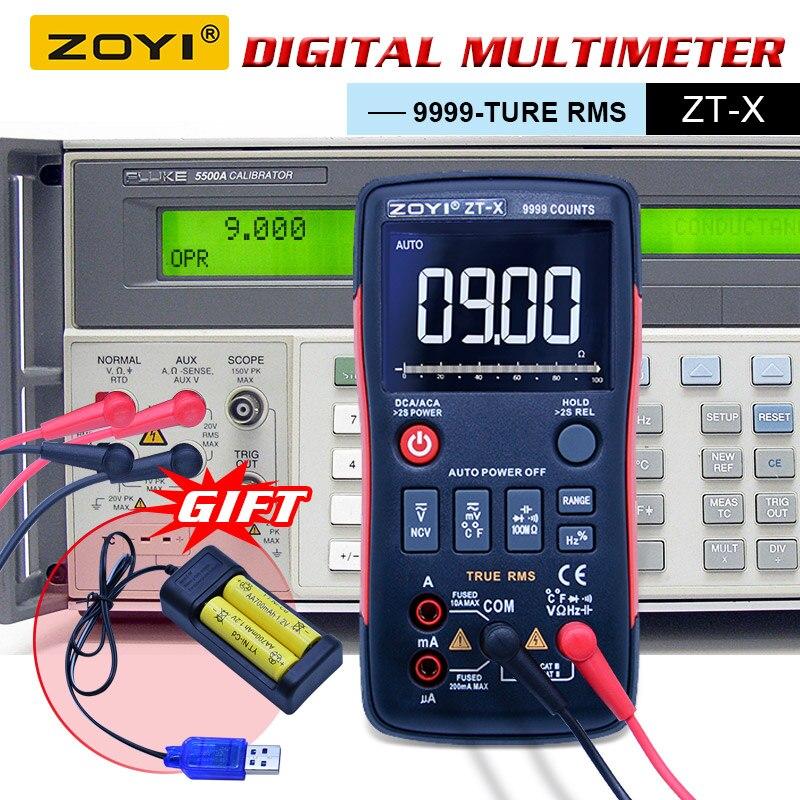 ZOYI ZT-X Цифровой мультиметр Кнопка ac dc Вольтметр ohmmet true rms мультиметр Авто диапазон + 2 шт. перезаряжаемые батарея зарядное устройство