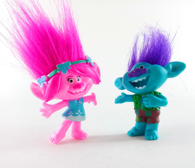 2pcs/lot 10cm Trolls figure poppy Branch action figure toy set 2017 New Movie Trolls figurine bobby doll birthday party Supplies