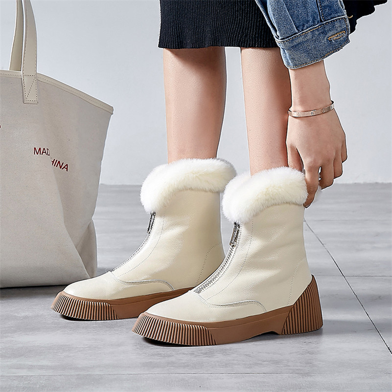 Image 4 - FEDONAS New Arrival Women Cow Leather Ankle Boots Zipper Keep Warm Winter Snow Boots Platforms Casual Shoes Woman Basic Boots-in Ankle Boots from Shoes