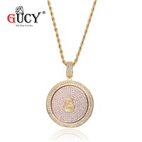 GUCY Hip Hop Rotatable Coin Dollar Sign Pendant Necklace All Iced Out Cubic Zircon Purse Circle Pendants&Necklaces Men's Gifts