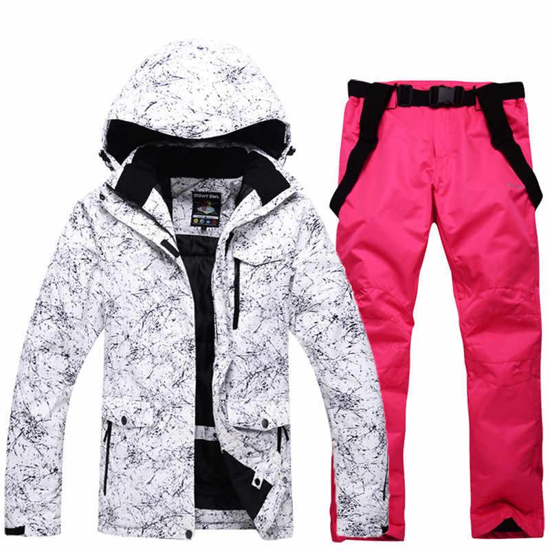 送料無料男性と女性の防水スキースーツ山スキースーツ厚み暖かいスキースノージャケット + スノーボード女性のスキーセット