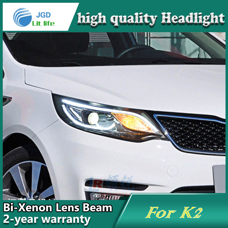 Car Styling Head Lamp case for Kia Rio K2 2015 2016 Headlights LED Headlight DRL Lens Double Beam Bi-Xenon HID car Accessories headlight for kia k2 rio 2015 including angel eye demon eye drl turn light projector lens hid high low beam assembly