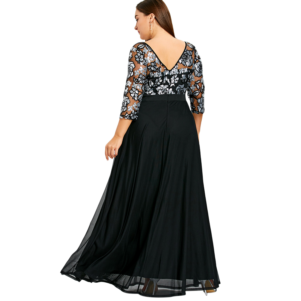 db67717b107e0 US $25.7 25% OFF LANGSTAR Plus Size 5XL Sequined Floral Maxi Prom Women  Party Long Dress Oversized High Waist Formal Dress Big Size Vestido  Femme-in ...