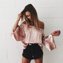 2017 Loose Sexy Off Shoulder Slash Neck Ruffle Silk Satin Bell Flare Sleeve black silver pink Women Soft Blouse Tops