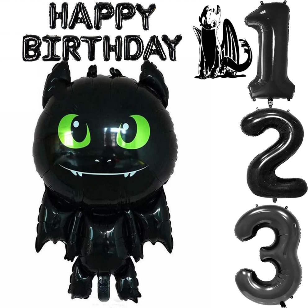 Big Foil Balloons How To Train Your Dragon Black Number 1 2 3 Dragon Toothless Action Figures Ball 1st Happy Birthday Party Gift