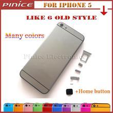 Para iphone 5 como iphone 6 6 mini viejo estilo cubierta trasera metal puerta de la batería tapa de la batería carcasa para iphone 5 alta calidad