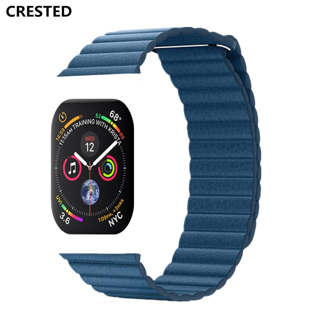 CRESTED Leather Loop For Apple Watch band series 4 44mm/40mm strap iWatch 3/2/1 42mm/38mm Magnetic Closure wrist bracelet belt цена