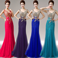 long lace evening dress formal dress 2016 elegant v neck slim fish tail embroidery dress gown customed 10 colors