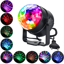цена LED Stage Light 3W RGB Sound Activated Rotating Disco Ball Party Lights for Holiday Christmas Home KTV Xmas Wedding Show онлайн в 2017 году