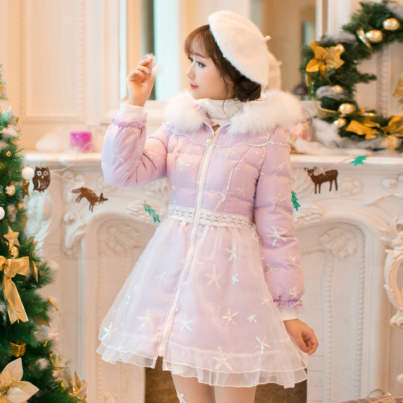 Princess sweet lolita white dress Candy rain Japanese design Sweet long sleeve hooded cotton Slim lace