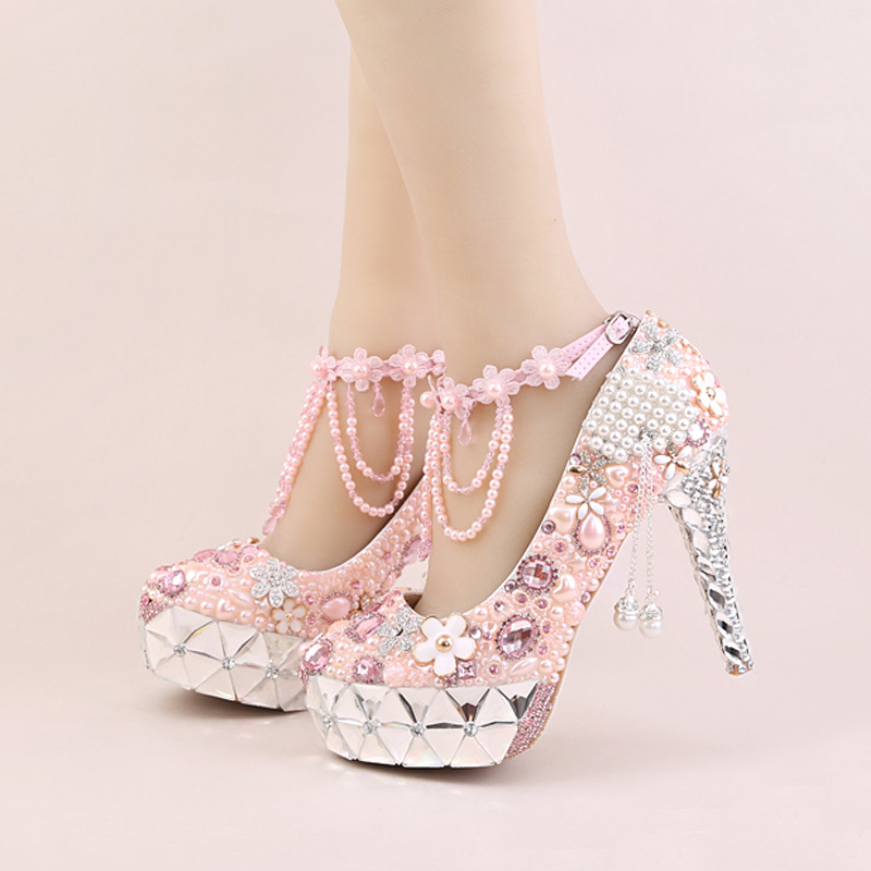 White and Pink Pearl Bridal Dress Shoes Gorgeous Crystal Heel Platforms Wedding Ceremony Party Shoes Ankle Straps Prom Pumps