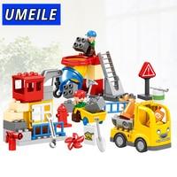 HUIMEI 51PCS City Construction Team Worker Truck Crane Educational Brick Set Kids Toys Compatible With Legoe
