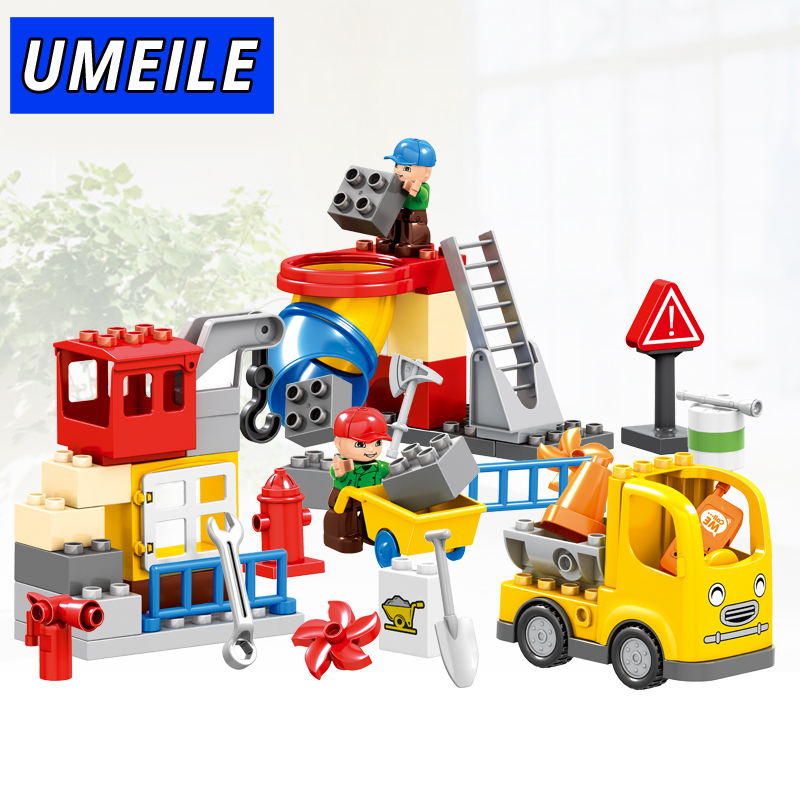 UMEILE 51PCS City Construction Team Worker Truck Crane Educational Brick Set Kids Toys Compatible with Duplo Christmas Gift домкрат lom 1550271