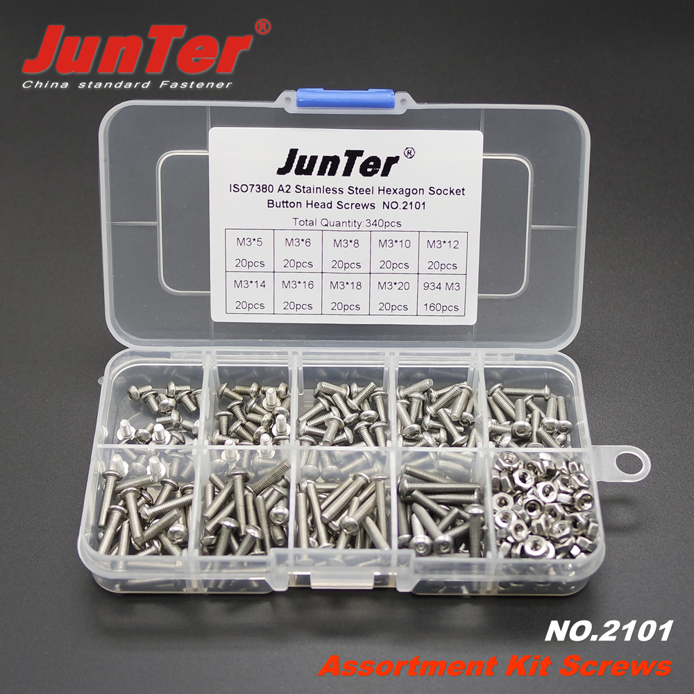 340pcs M3 (3mm)  A2 Stainless Steel ISO7380 Button Head Allen Bolts Hexagon Socket Screws With Hex Nuts Assortment Kit NO.2101 m3 m4 m5 steel head screws bolts nuts hex socket head cap and nuts assortment button head allen bolts hexagon socket screws kit