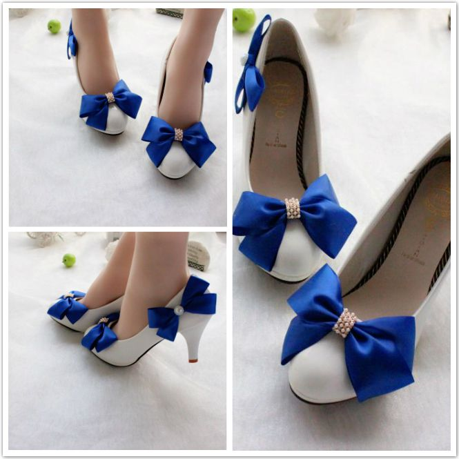 Blue bow wedding shoes for woman high heels or custom make heels blue bow wedding shoes for woman high heels or custom make heels for brides bridesmaid party dress shoe white pr654 in womens pumps from shoes on junglespirit Image collections