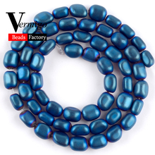 цена на Free Shipping Natural Stone Beads Matte Blue Hematite Charm Loose Beads For Jewelry Making 5x8mm Diy Bracelet Jewellery 15