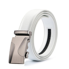 Top Brand Men Real Cowskin white belt Automatic Buckle Large Genuine Leather Luxury Designer Genuine Leather