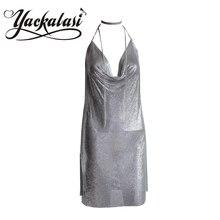Платье Партии женщин Серебряная Металлическая Сетка YACKALASI Элегантный Клуб Платье Vestidios Millionairess Холтер Ремни Sexy Глубокий V Спинки