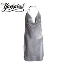 YACKALASI Vestido Das Mulheres Do Partido Sexy Clube Kendall Jenner Vestidios Diamante Halter Spaghetti Malha De Metal Prateado Elegante V Profundo Backles