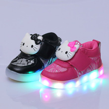 Retail 2017 new children's shoes colorful girls led lights baby anti-skid cat cat Korean children's shoes size 21-30