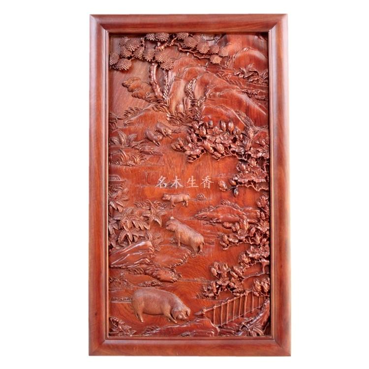 купить Dongyang wood carving plaque hanging boutique cross screen pendant Chinese classical background of Burma pear pig по цене 152314.4 рублей