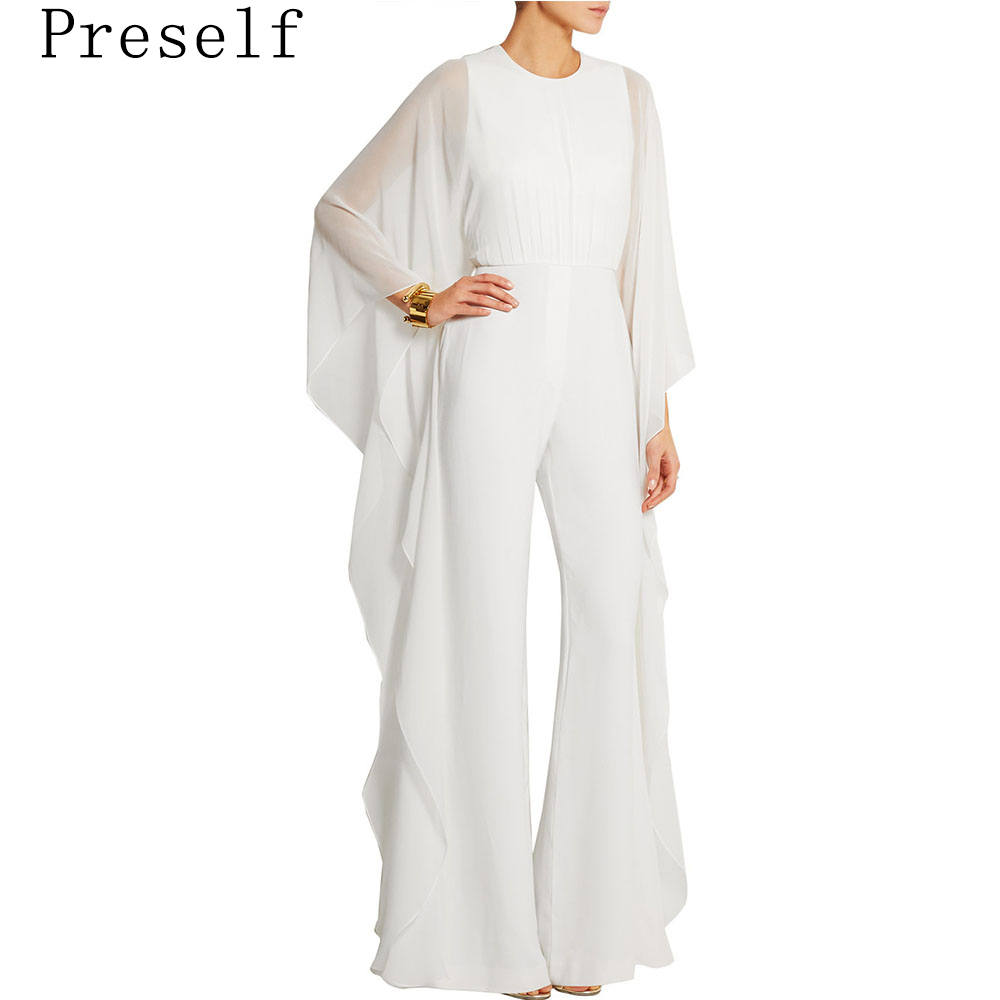 Preself Fashion Side Flouncing Jumpsuits Women Sexy See-Through Long Sleeve High Waist Wide Leg Jumpsuit Playsuit Pants White