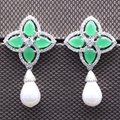 Fashion Jewelry White Gold Plated Crystal Green CZ Pearl Drop Green  Earrings For Women Party Earring Bijoux Femme 2colors