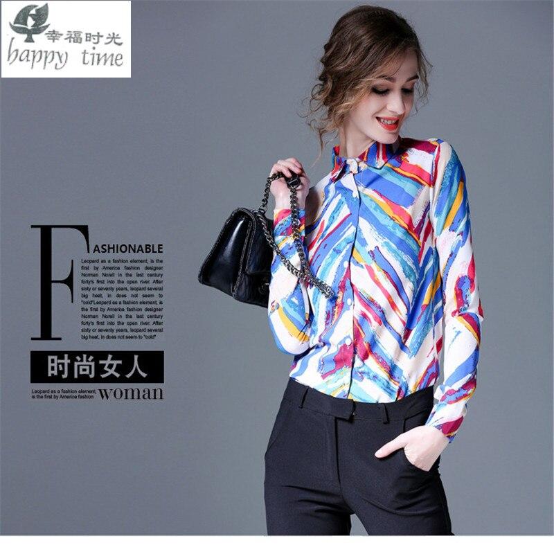 European Milan fashion Striped blouse Paris women Professional elegant shirt slim Noble professional Colorful striped shirt