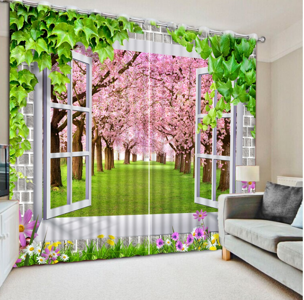 3d Curtain Home Bedroom Decoration Flowers Window Cherry