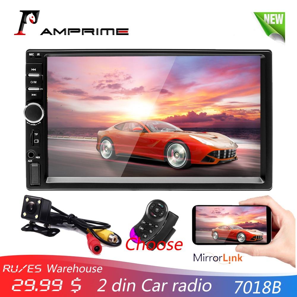 AMPrime 7018B 2 Din автомобильное радио HD Авторадио LCD сенсорный экран стерео MP5 плеер Поддержка камеры заднего вида с пультом дистанционного управл...