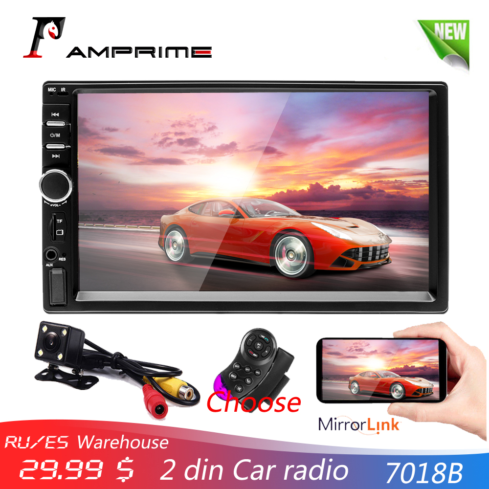 AMPrime 7018B 2 Din Car Radio HD Autoradio LCD Touch Screen Car Stereo MP5 Player Support Rear View Camera With Remote ControlAMPrime 7018B 2 Din Car Radio HD Autoradio LCD Touch Screen Car Stereo MP5 Player Support Rear View Camera With Remote Control