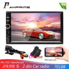AMPrime 7018B 2 Din Auto Radio HD Autoradio LCD Touch Screen Car Stereo MP5 di Sostegno del Giocatore di Videocamera vista posteriore Con Telecomando di Controllo