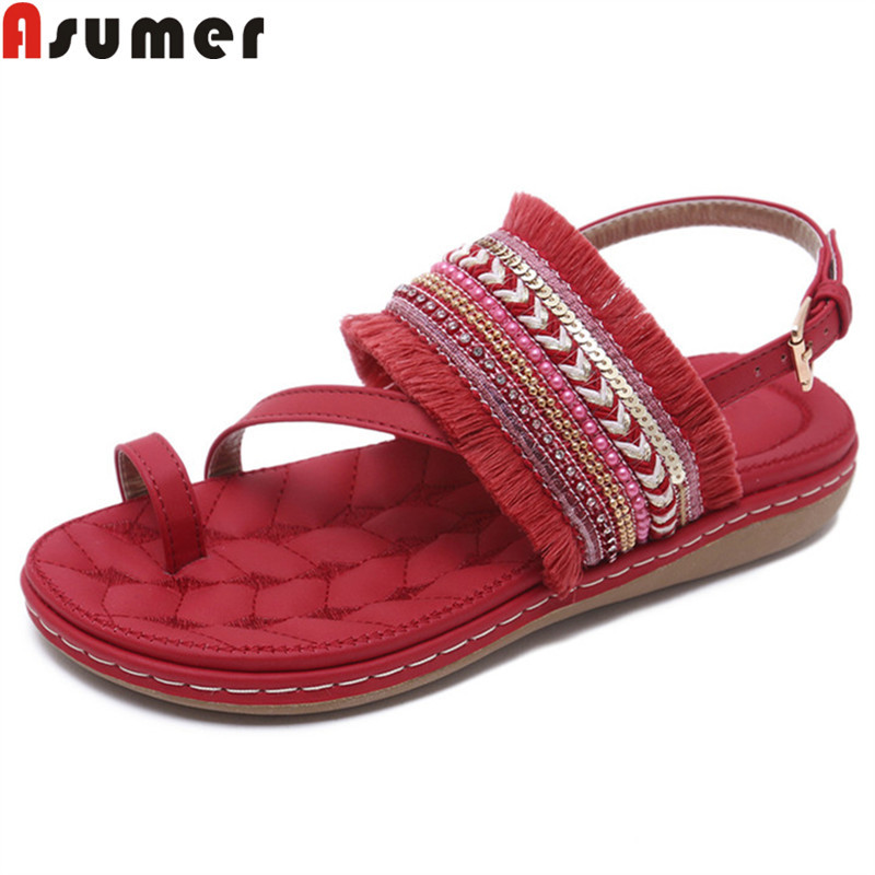 ASUMER Buckle Sandals Big-Size Female Shoes Flat Casual Fashion Woman 35-42 with New-Arrival