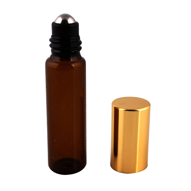 100pcs/lot 5ml 1/6oz ROLL ON AMBER fragrance GLASS BOTTLES ESSENTIAL OIL Glass Roller ball Aromatherapy Bottle FREE Shipping
