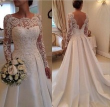 2015 Wedding Dress New Model Long Sleeves With Satin Skirt Gowns Amanda Novias