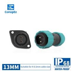 IP68 wodoodporna lotnictwa męskie złącze żeńskie 13mm średnicy 1/2/3/4/5/6 /7 pin zamknięte IP68 skrzynka przyłączeniowa gniazdo wtykowe|Złącza|Lampy i oświetlenie -