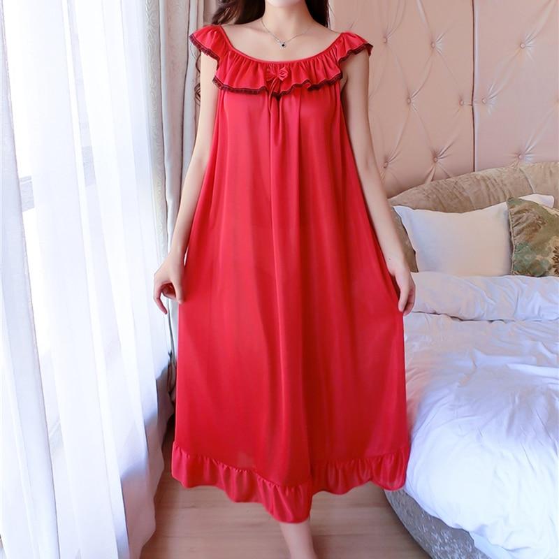 Plus Size 4XL Women's Silk Clothing   Nightgowns   Ladies Sexy Lace Sleepwear 2018 Summer Girls Sleeveless Sleepdress   Sleepshirts