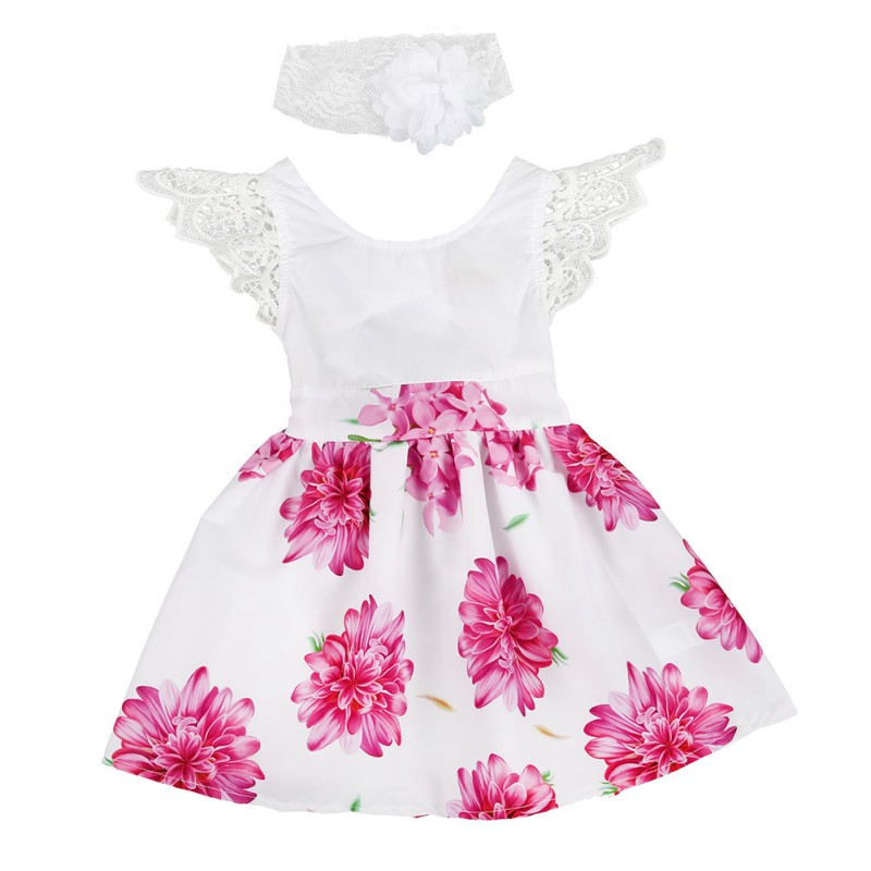 2Pcs Baby Girls Sets Fashion Newborn Infant Puff Sleeve Floral Dress + Lace Flower Headband floral print puff sleeve fit