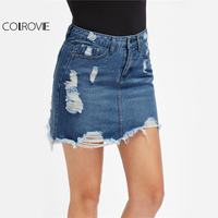 COLROVIE Distressed Pencil Skirt Blue Denim Women Sexy Casual Mini Summer Skirts 2017 Fashion New Ripped