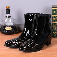 Men Ankle Boots High Heel 8CM Height Increasing Studded Cowboy Boots Patent Leather Pointy Military Black Work Boots