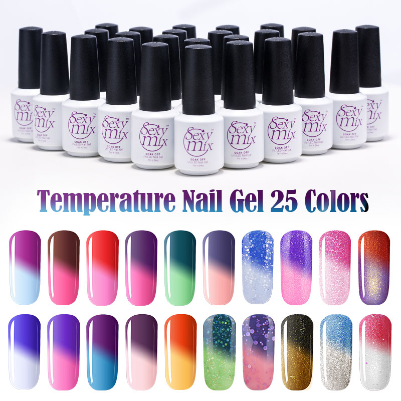 Color Changing Gel Nail Polish: Sexy Mix Temperature Change Chameleon Make Up Color